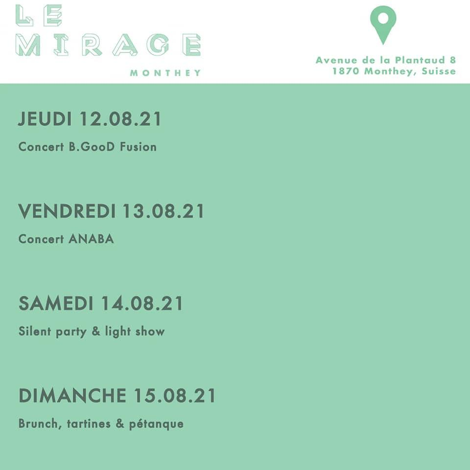 Festival mirage monthey le 14 aout 2021